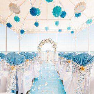 Оформление зала на свадьбу в небесно-голубых тонах